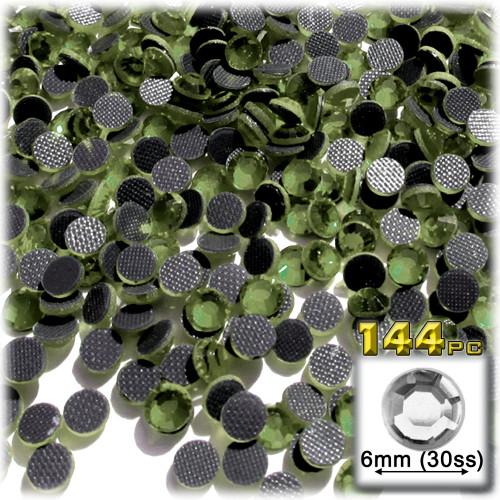 Rhinestones, Hotfix, DMC, Glass Rhinestone, 6mm, 144-pc, Olive Green (Olivine)