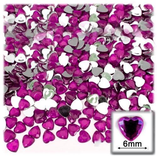 Rhinestones, Flatback, Heart, 6mm, 144-pc,Fuchsia