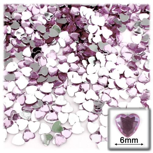Rhinestones, Flatback, Heart, 6mm, 144-pc, Lavender