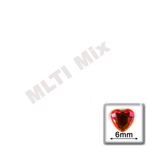 Rhinestones, Flatback, Heart, 6mm, 144-pc, Mixed Colors
