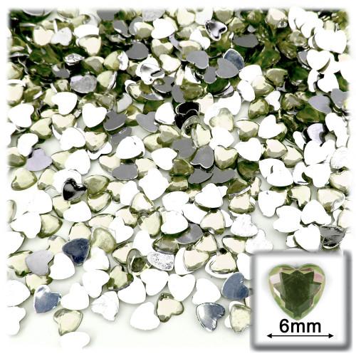Rhinestones, Flatback, Heart, 6mm, 144-pc, Olive Green