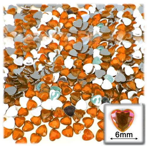 Rhinestones, Flatback, Heart, 6mm, 144-pc, Orange