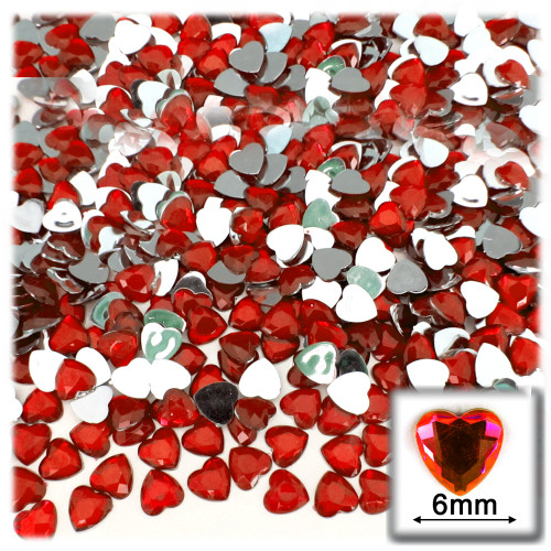 Rhinestones, Flatback, Heart, 6mm, 144-pc, Ruby Red