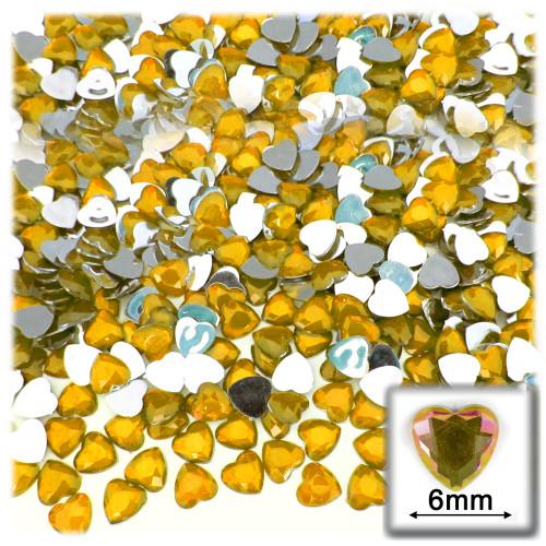 Rhinestones, Flatback, Heart, 6mm, 144-pc, Golden Yellow