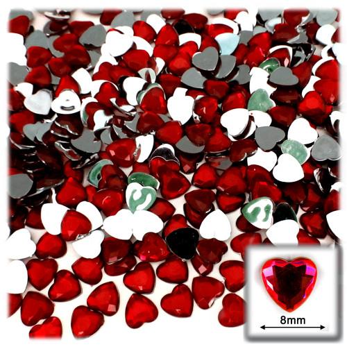 Rhinestones, Flatback, Heart, 8mm, 144-pc, Devil Red Wine