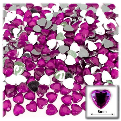 Rhinestones, Flatback, Heart, 8mm, 144-pc, Fuchsia