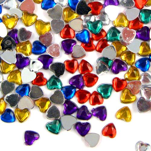 Rhinestones, Flatback, Heart, 8mm, 144-pc, Mixed Colors