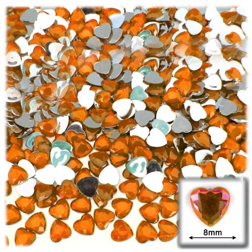 Rhinestones, Flatback, Heart, 8mm, 144-pc, Orange