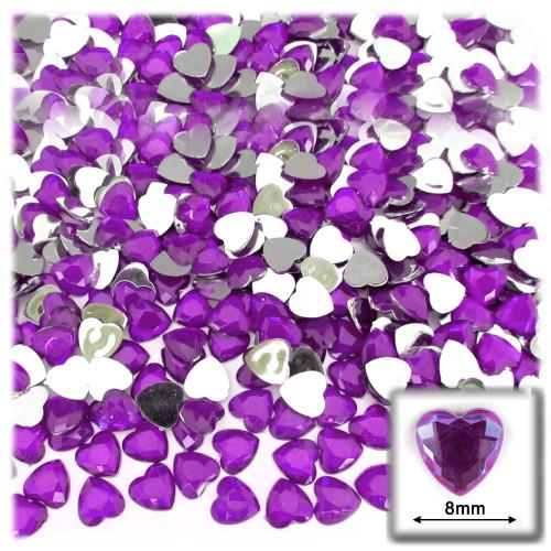 Rhinestones, Flatback, Heart, 8mm, 144-pc, Purple (Amethyst)
