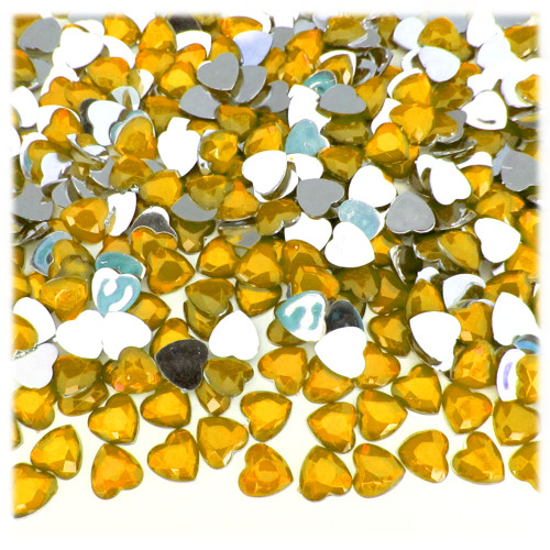 Rhinestones, Flatback, Heart, 8mm, 144-pc, Golden Yellow