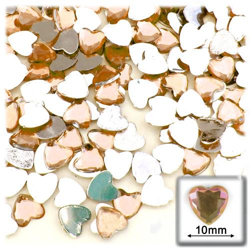 Rhinestones, Flatback, Heart, 10mm, 144-pc, Light Orange