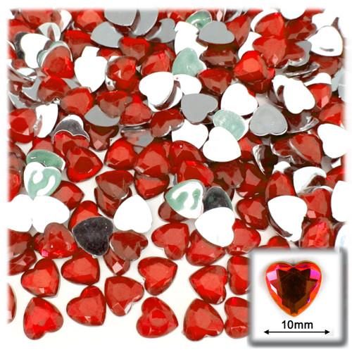 Rhinestones, Flatback, Heart, 10mm, 144-pc, Ruby Red