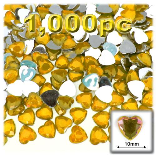 Rhinestones, Flatback, Heart, 10mm, 144-pc, Golden Yellow