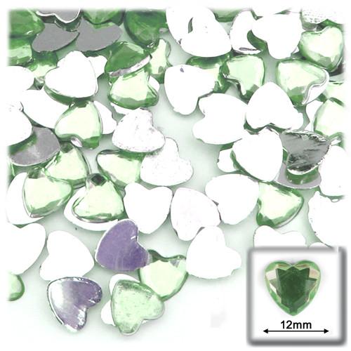 Rhinestones, Flatback, Heart, 12mm, 144-pc, Light Green