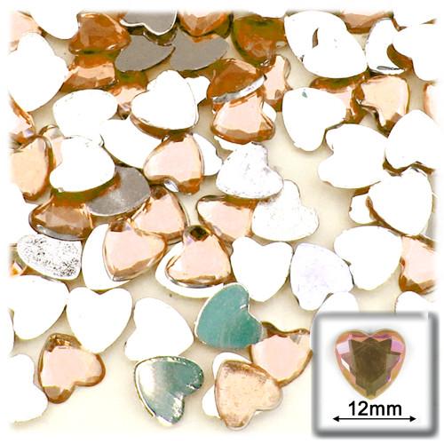Rhinestones, Flatback, Heart, 12mm, 144-pc, Light Orange