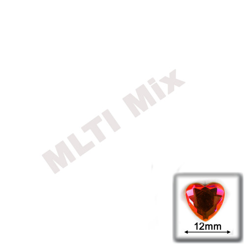 Rhinestones, Flatback, Heart, 12mm, 144-pc, Mixed Colors