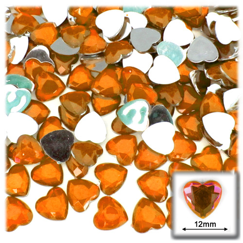 Rhinestones, Flatback, Heart, 12mm, 144-pc, Orange