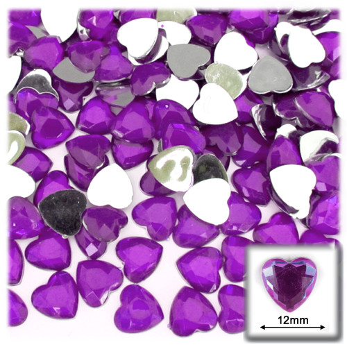 Rhinestones, Flatback, Heart, 12mm, 144-pc, Purple (Amethyst)