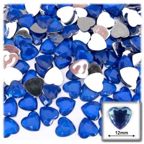 Rhinestones, Flatback, Heart, 12mm, 144-pc, Royal Blue