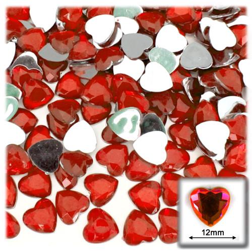 Rhinestones, Flatback, Heart, 12mm, 144-pc, Ruby Red