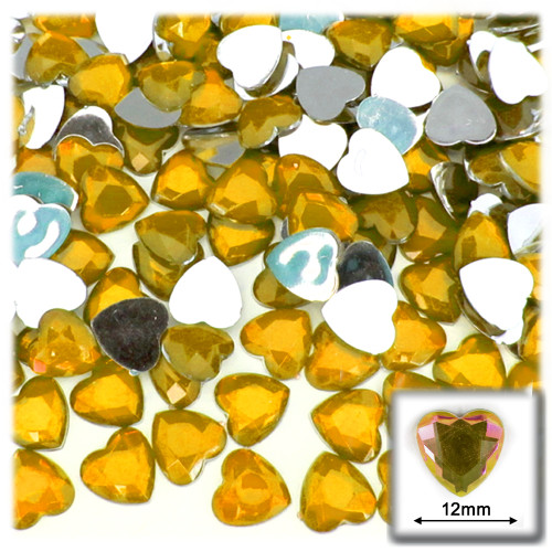 Rhinestones, Flatback, Heart, 12mm, 144-pc, Golden Yellow