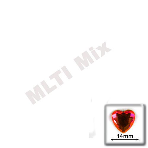 Rhinestones, Flatback, Heart, 14mm, 144-pc, Mixed Colors