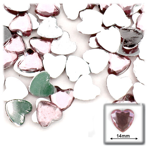 Rhinestones, Flatback, Heart, 14mm, 144-pc, Light Baby Pink