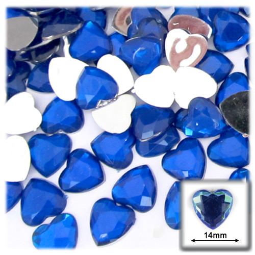 Rhinestones, Flatback, Heart, 14mm, 144-pc, Royal Blue