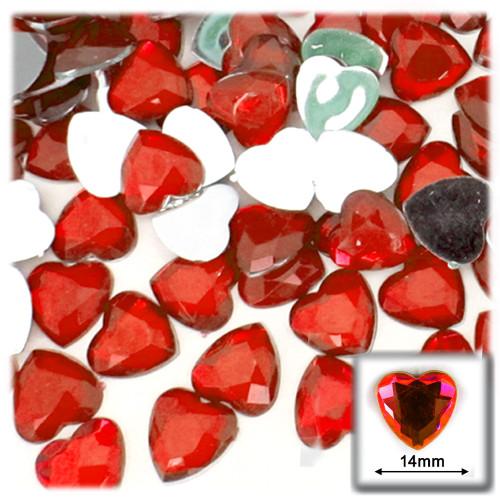 Rhinestones, Flatback, Heart, 14mm, 144-pc, Ruby Red