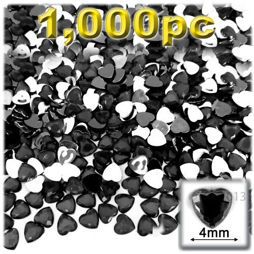 Rhinestones, Flatback, Heart, 4mm, 1,000-pc, Jet Black