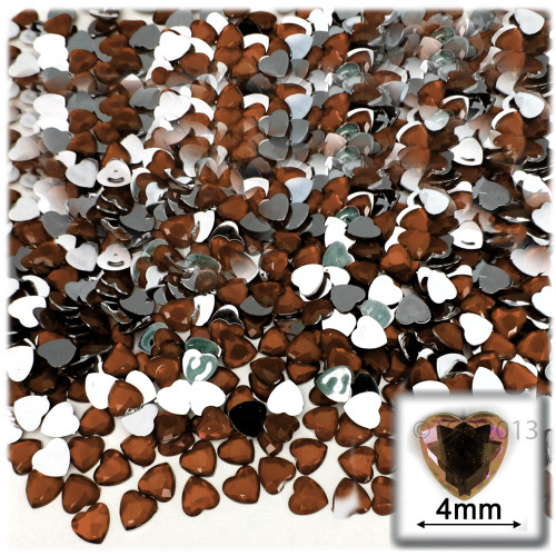 Rhinestones, Flatback, Heart, 4mm, 288-pc, Beer Brown