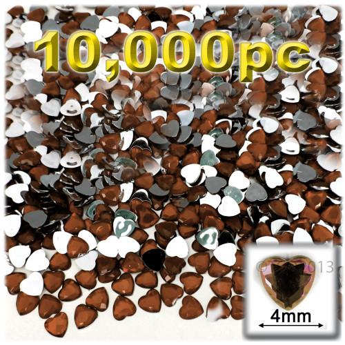 Rhinestones, Flatback, Heart, 4mm, 10,000-pc, Beer Brown