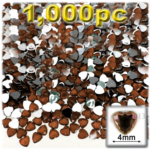 Rhinestones, Flatback, Heart, 4mm, 1,000-pc, Beer Brown