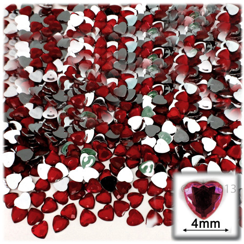 Rhinestones, Flatback, Heart, 4mm, 288-pc, Devil Red Wine