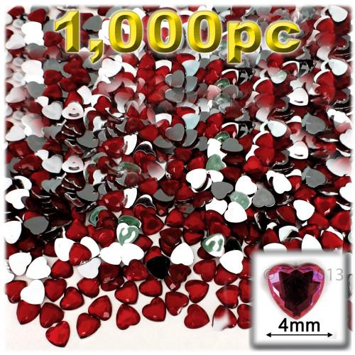 Rhinestones, Flatback, Heart, 4mm, 1,000-pc, Devil Red Wine