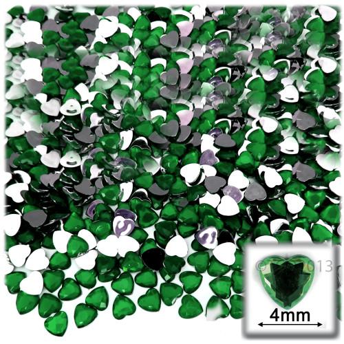 Rhinestones, Flatback, Heart, 4mm, 288-pc, Emerald Green