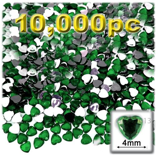 Rhinestones, Flatback, Heart, 4mm, 10,000-pc, Emerald Green
