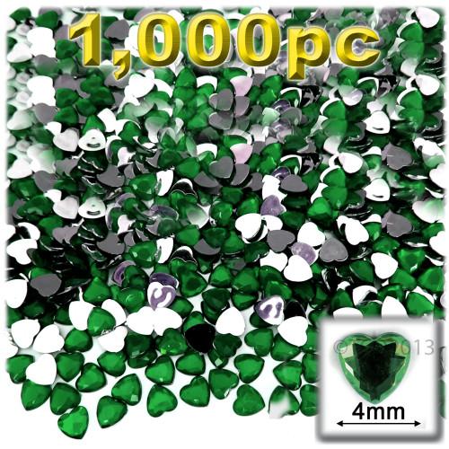 Rhinestones, Flatback, Heart, 4mm, 1,000-pc, Emerald Green