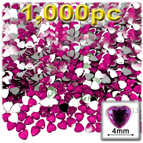 Rhinestones, Flatback, Heart, 4mm, 1,000-pc, Hot Pink