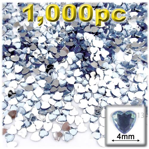 Rhinestones, Flatback, Heart, 4mm, 1,000-pc, Light Baby Blue