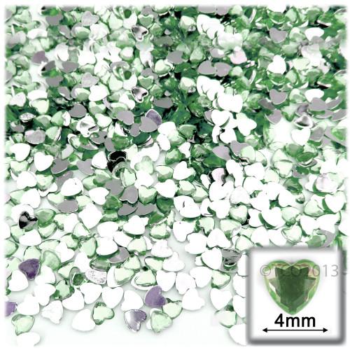Rhinestones, Flatback, Heart, 4mm, 288-pc, Light Green