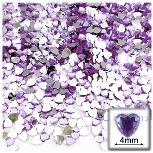 Rhinestones, Flatback, Heart, 4mm, 288-pc, Lavender