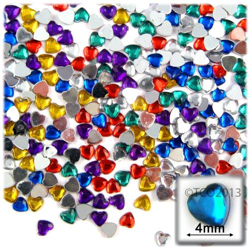 Rhinestones, Flatback, Heart, 4mm, 288-pc, Mixed Colors