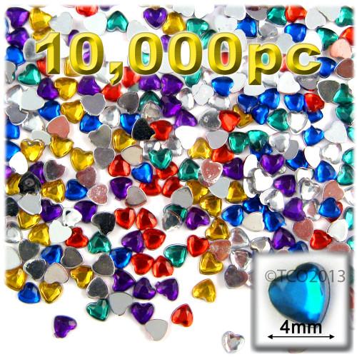 Rhinestones, Flatback, Heart, 4mm, 10,000-pc, Mixed Colors