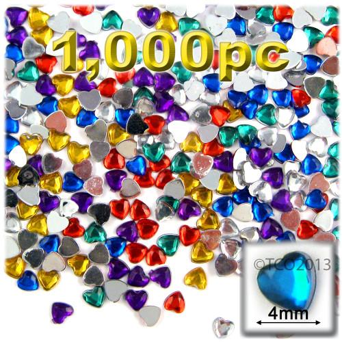 Rhinestones, Flatback, Heart, 4mm, 1,000-pc, Mixed Colors