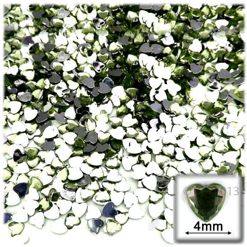 Rhinestones, Flatback, Heart, 4mm, 288-pc, Olive Green