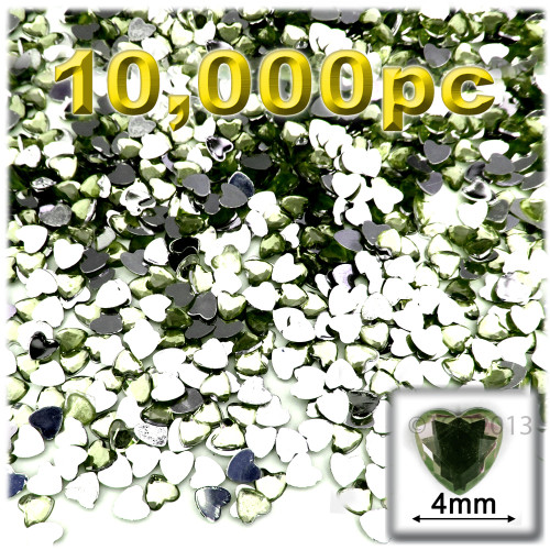 Rhinestones, Flatback, Heart, 4mm, 10,000-pc, Olive Green