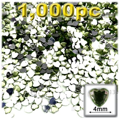 Rhinestones, Flatback, Heart, 4mm, 1,000-pc, Olive Green