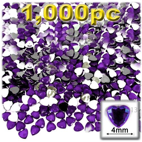 Rhinestones, Flatback, Heart, 4mm, 1,000-pc, Purple (Amethyst)
