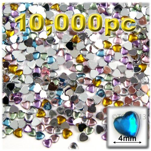 Rhinestones, Flatback, Heart, 4mm, 10,000-pc, Pastel Assortment